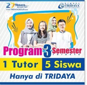 Diskon 50% untuk belajar Semester 2 di seluruh unit Bimbel Tridaya, berlaku sampai Maret 2019. Grab it fast!